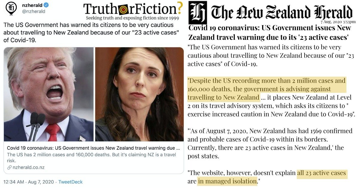 Did the United States Issue a COVID-19 Travel Advisory for New Zealand?