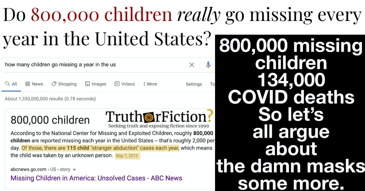 Do 800,000 Children Go Missing Each Year in the United States?