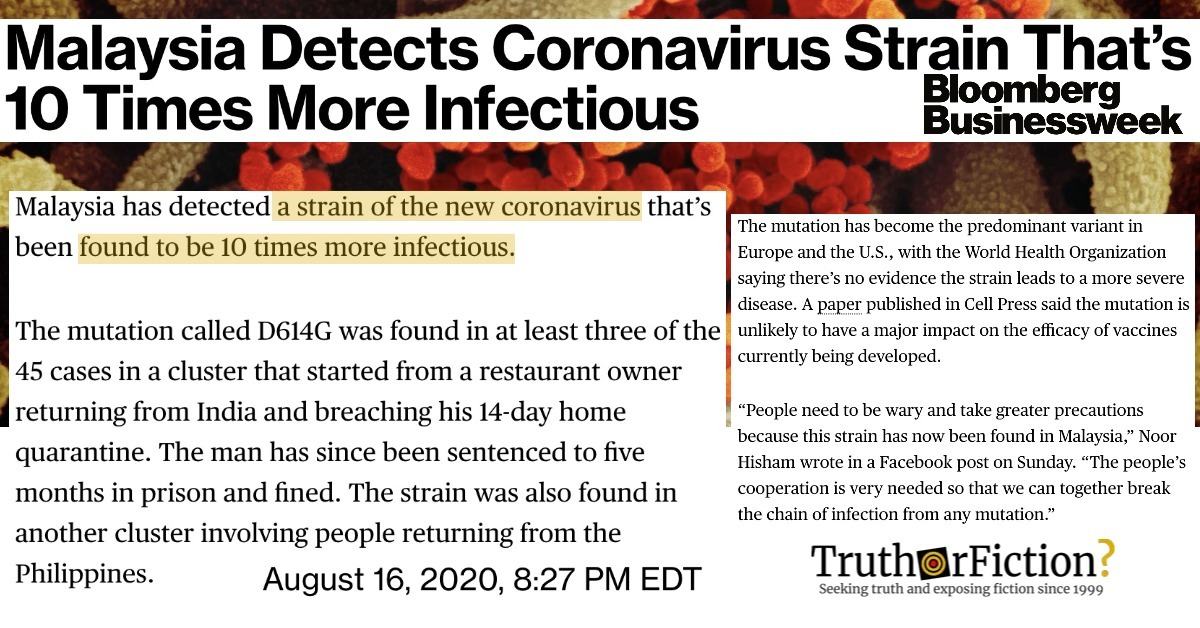 Was a New Strain of Coronavirus Known as D614G and 'Ten Times More Infectious' Emerge in Malaysia in August 2020?