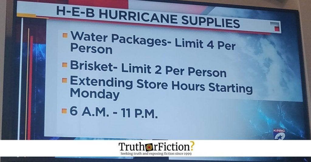 HEB hurricane supplies brisket