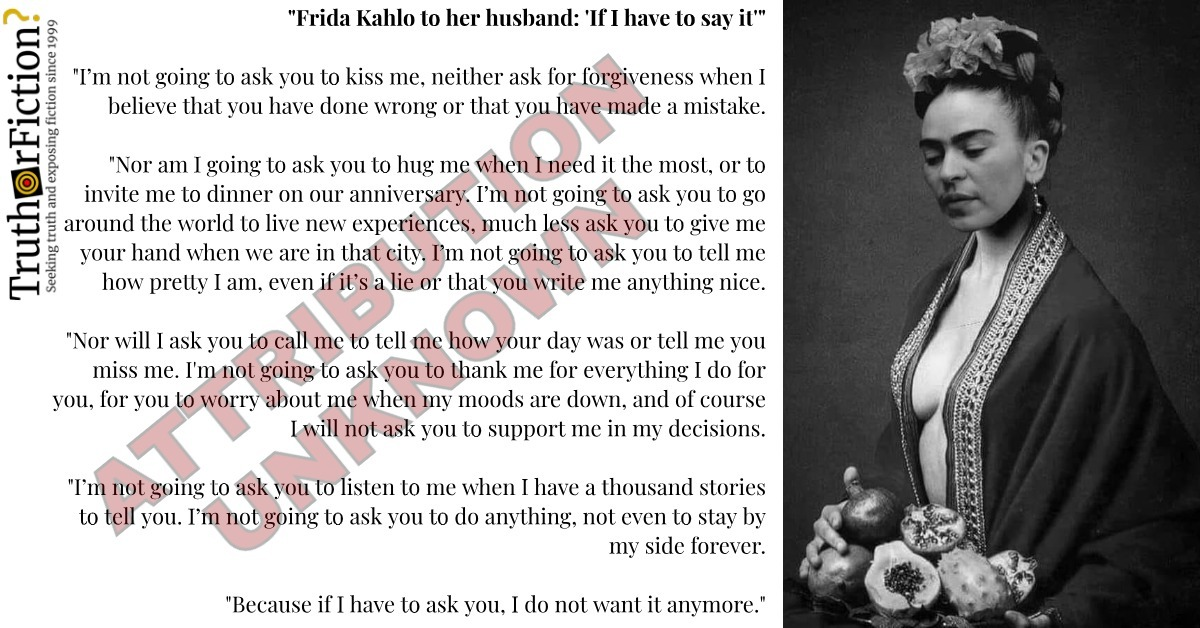 Frida Kahlo 'If I Have to Say It … I Do Not Want It Anymore'