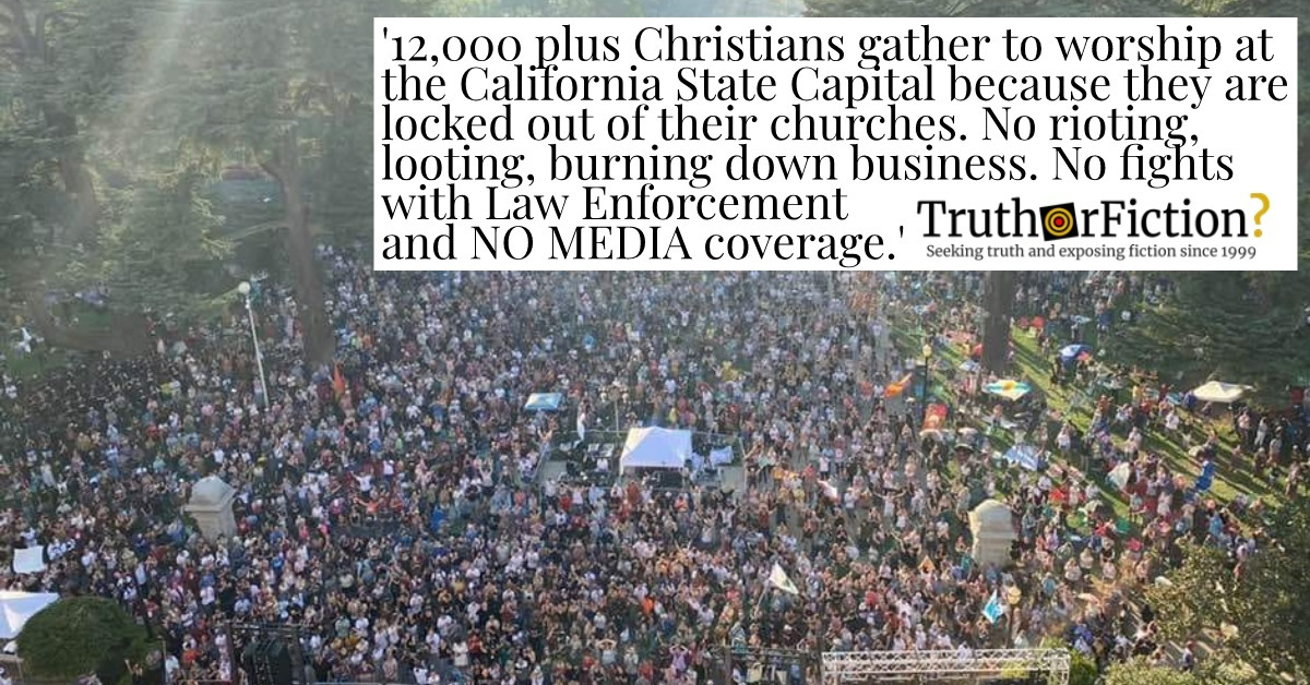 Did More Than 12,000 Christians Defy Governor, Worship at California Capitol in September 2020?