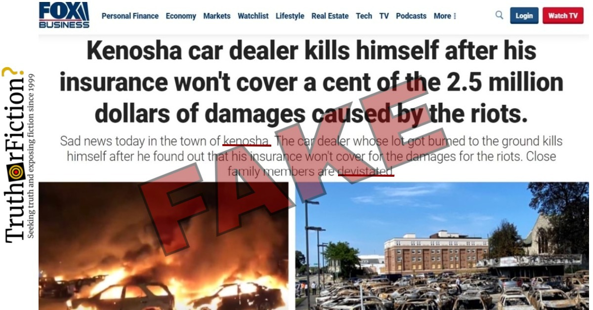 'Kenosha Car Dealer Kills Himself After His Insurance Won't Cover a Cent of the 2.5 Million Dollars of Damages' Caused by BLM Protests