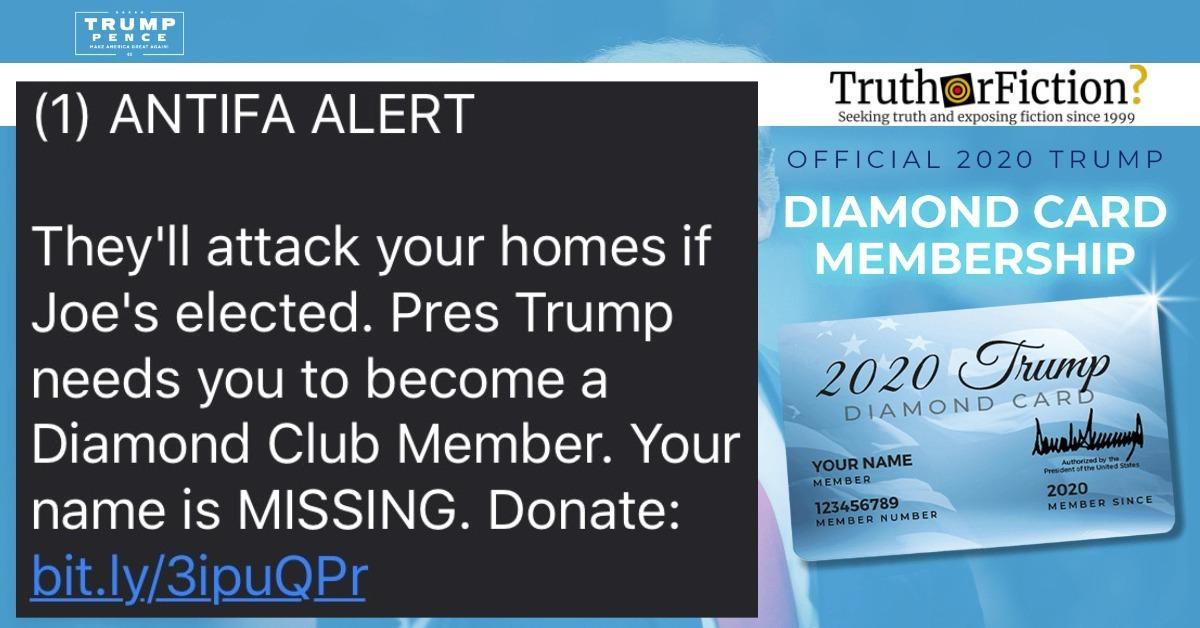 Trump Campaign 'Antifa Alert' Diamond Club Text Message