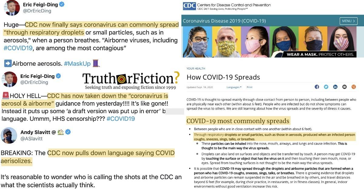 CDC Removes 'Airborne' COVID-19 Content