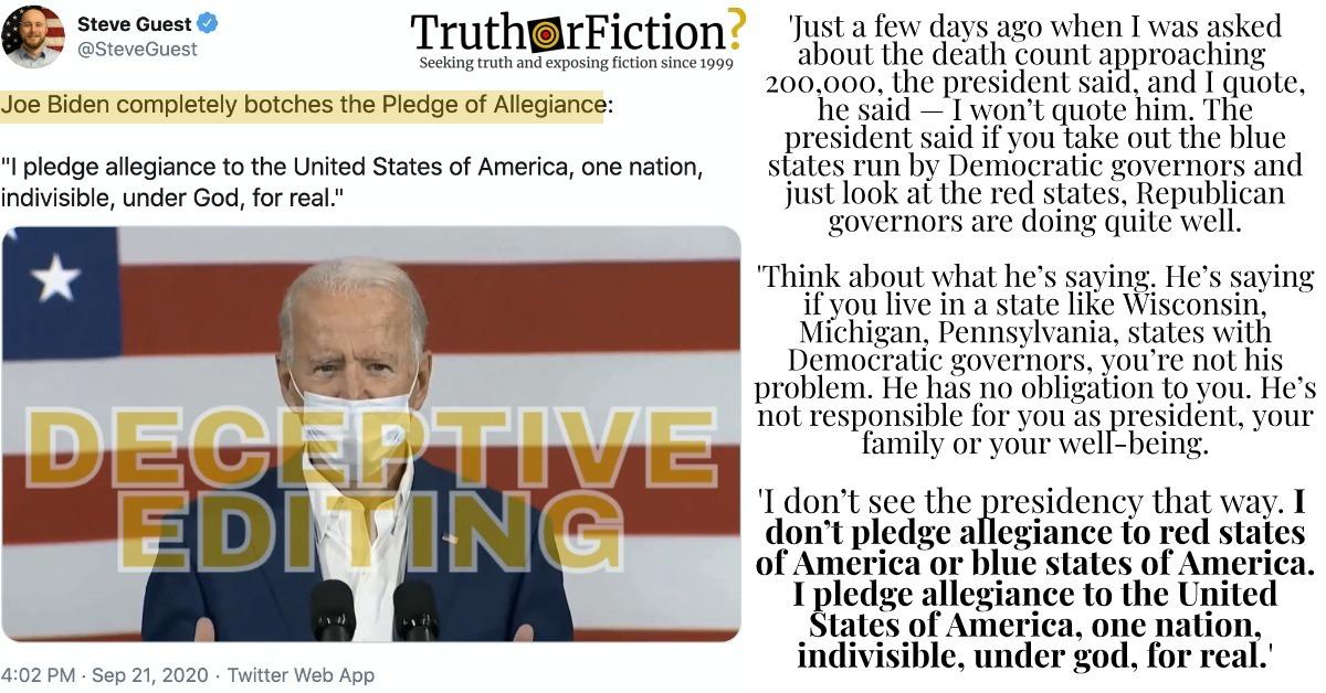 'Joe Biden Completely Botches the Pledge of Allegiance' Video