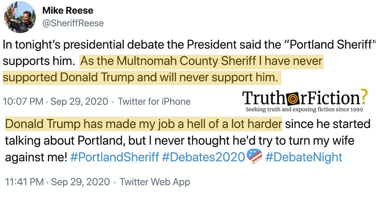 'Portland Sheriff' Refutes Trump's Debate Claim About Endorsement