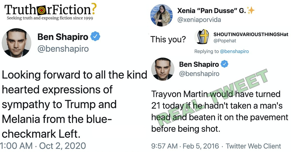 Did a Real Ben Shapiro Tweet About Trayvon Martin Resurface After He Predicted a Lack of Sympathy for Donald Trump's COVID-19?