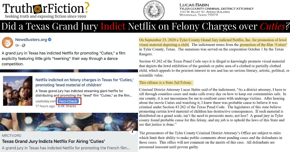 Was Netflix Indicted by a Texas Grand Jury over 'Cuties' Controversy?