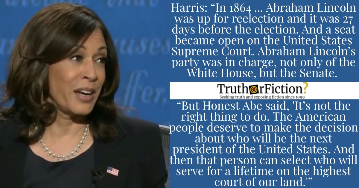 Was Kamala Harris' Debate Anecdote About Abraham Lincoln and the Supreme Court Accurate?
