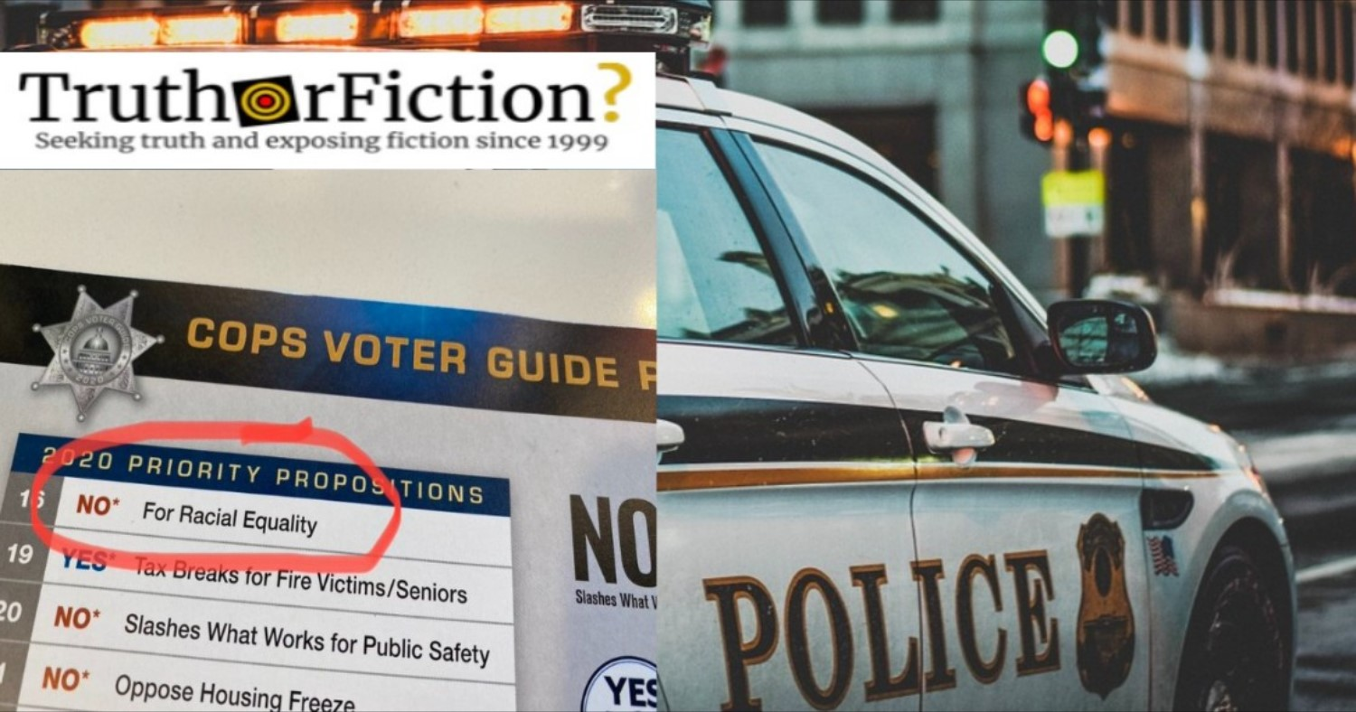 Did California Police Recommend Voting Against a Bill 'for Racial Equality'?