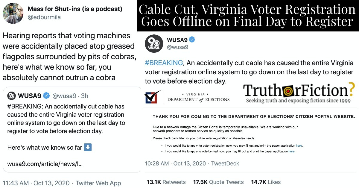 Virginia Voter Registration Disrupted on Deadline Day Due to 'Accidentally' Cut Cable