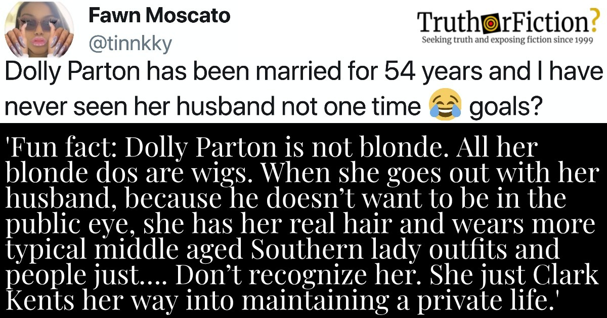 'Fun Fact: Dolly Parton is Not Blonde, All Her Blonde Dos Are Wigs … She Just Clark Kents Her Way Into Maintaining a Private Life'