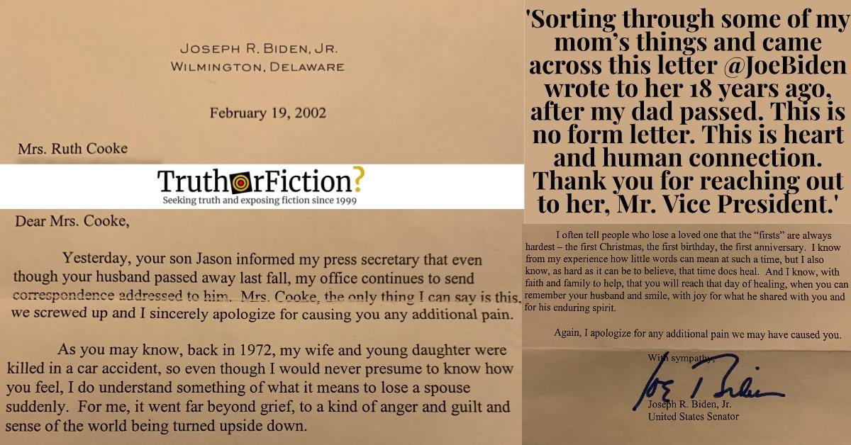 Joe Biden's 2002 Letter to Ruth Cooke