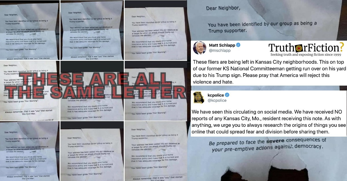'Dear Neighbor, You Have Been Identified As a Trump Supporter' Flyers