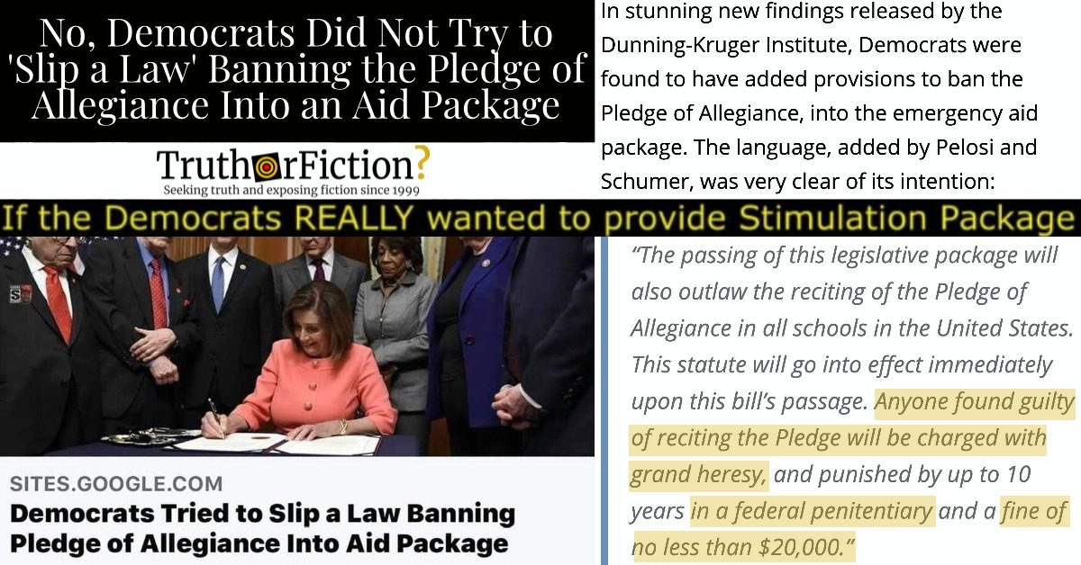 'Democrats Tried to Slip a Law Banning Pledge of Allegiance Into Aid Package'