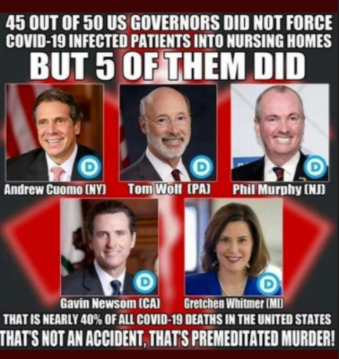 """""""45 out of 50 U.S. governors did not force COVID-19 infected patients into nursing homes. BUT 5 OF THEM DID. That is nearly 40% of all COVID-19 deaths in the United States. THAT'S NOT AN ACCIDENT, THAT'S PREMEDITATED MURDER!"""""""
