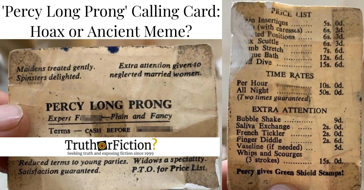 'Percy Long Prong' Calling Card: Racy Relic, or Out of Context Hoax?