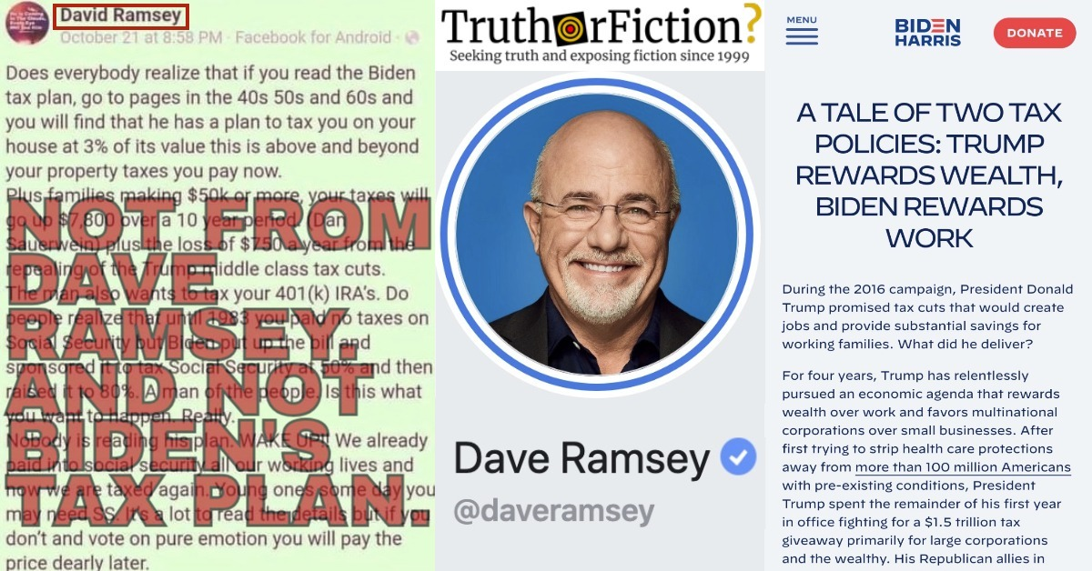 Did Dave Ramsey Warn Facebook Users About Biden's Tax Plan?
