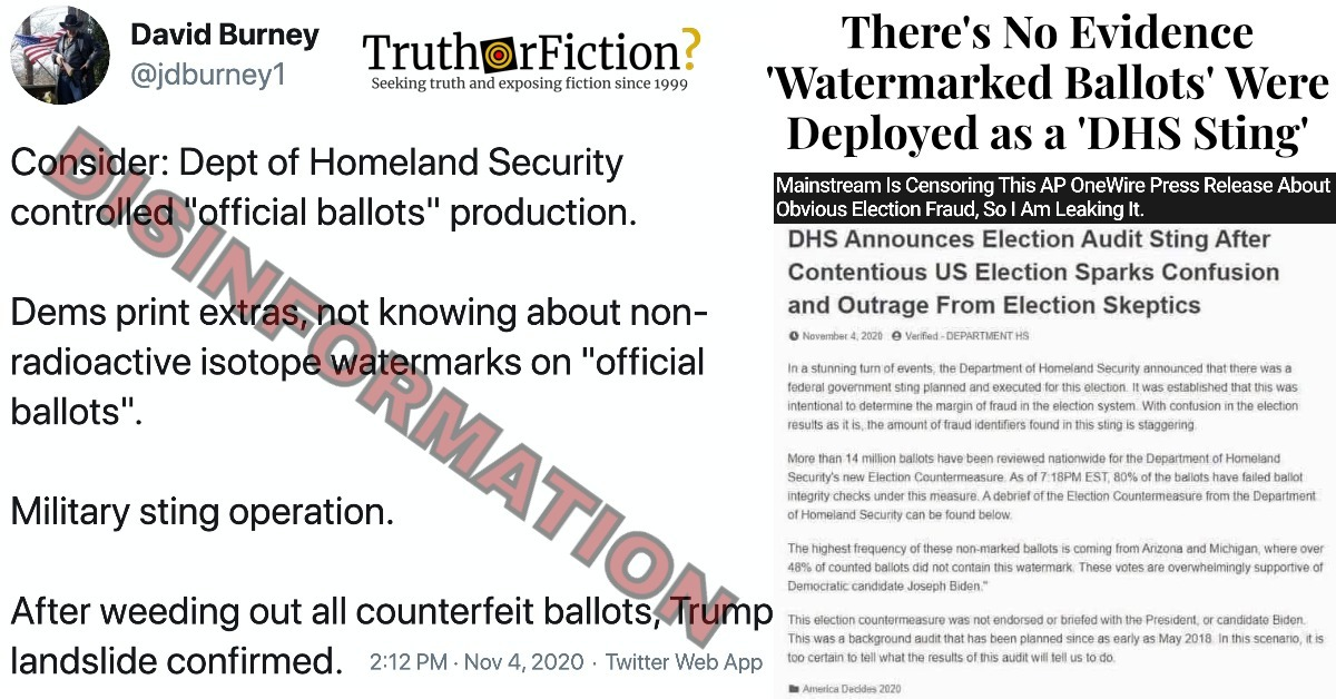 'Special Paper,' 'Watermarked Ballots' Conspiracy Theory Spreads on Social Media