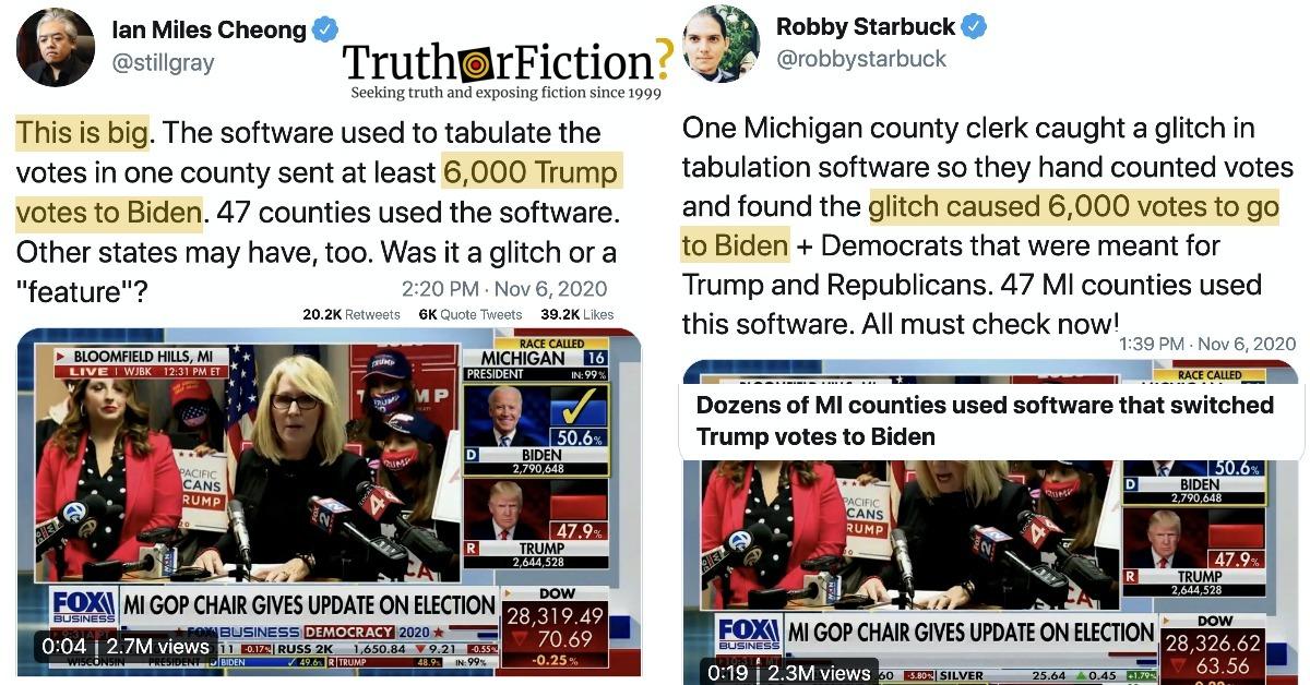 Did an Antrim County, Michigan 'Software Glitch' Send '6,000 Trump Votes to Biden'?