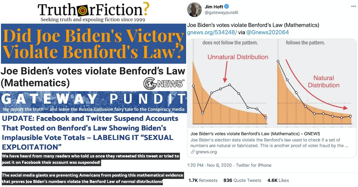 Does Benford's Law Prove Election Fraud in Biden Votes?