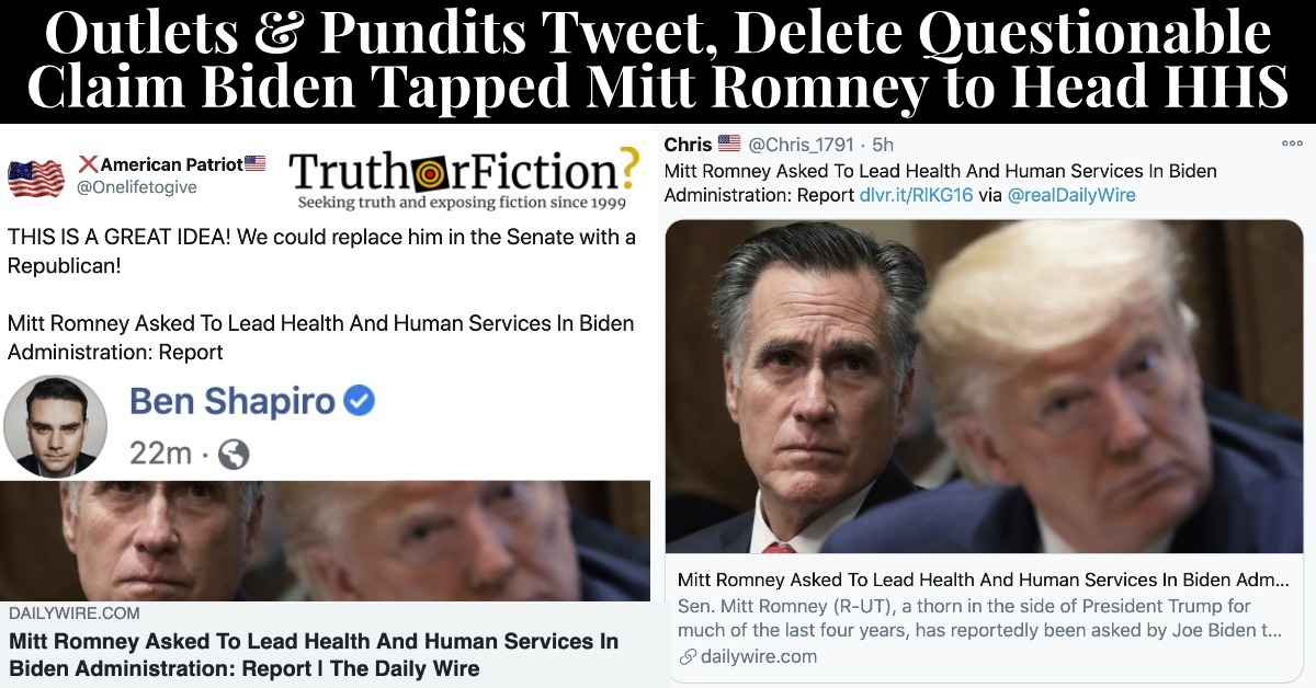 'Mitt Romney Asked To Lead Health And Human Services In Biden Administration: Report'