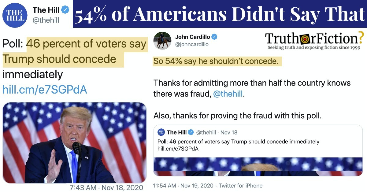 'So 54%' of Americans Believe the 2020 Election Was Fraudulent?