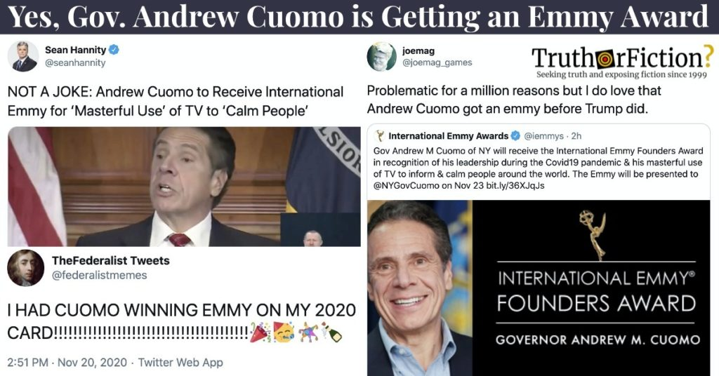 Gov. Cuomo Gets Emmy for 'Leadership' During Pandemic, Twitter Reacts