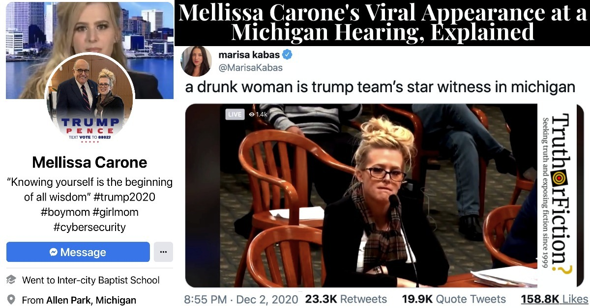 Mellissa Carone, Dominion Subcontractor, Goes Viral After Bizarre Michigan 'Hearing' Appearance