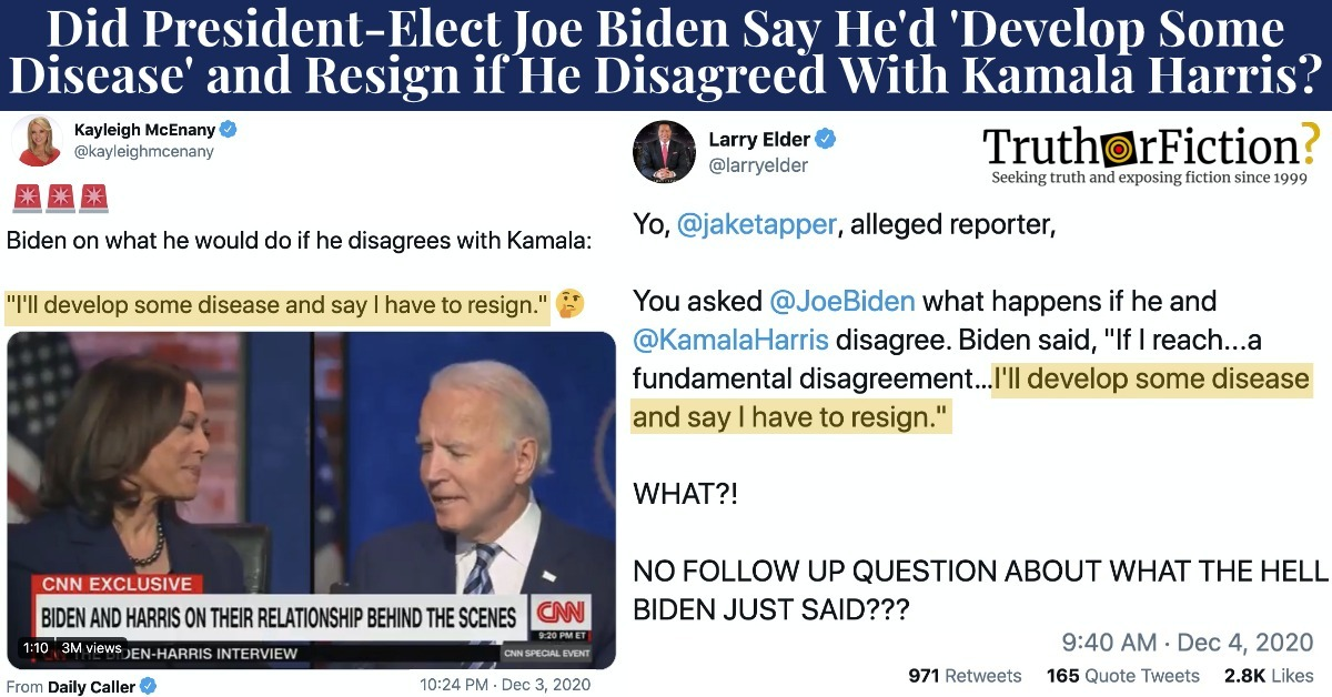 Did Joe Biden Say if He Disagreed with Kamala Harris, He'd Fake an Illness and Resign?