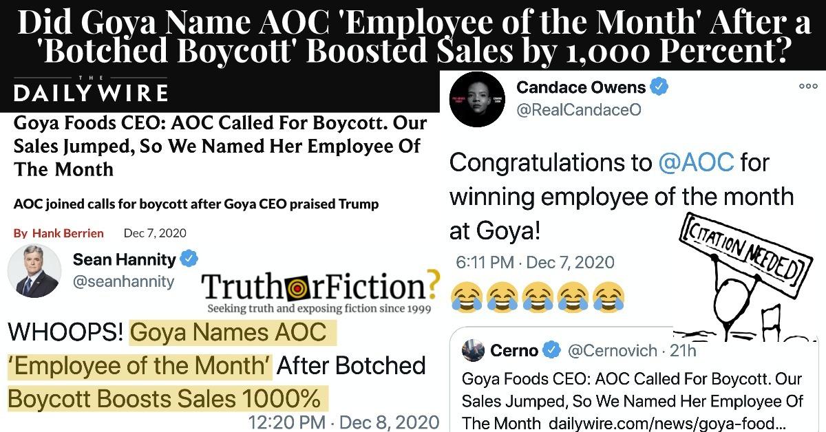 Was Alexandria Ocasio-Cortez Named Goya's 'Employee of the Month'?