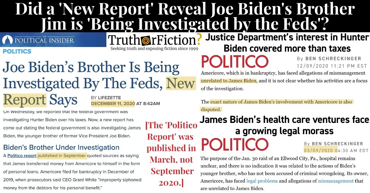 Is Joe Biden's Brother James Now Being Investigated by 'the Feds'?
