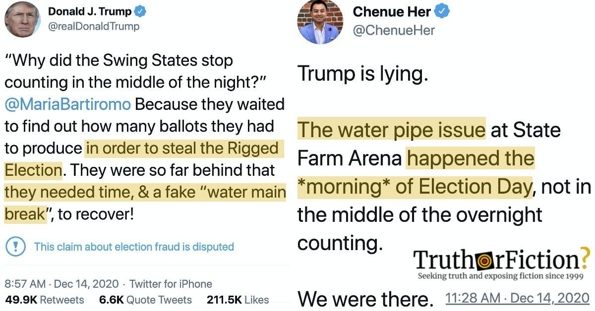 Trump Tweets About 'Fake Water Main Break' on Election Night in Georgia
