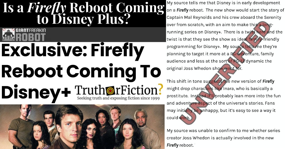 Is a 'Firefly' Reboot Coming To Disney+?
