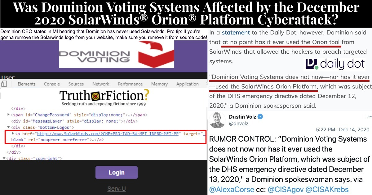 Dominion Voting Systems and the SolarWinds Vulnerability, Explained