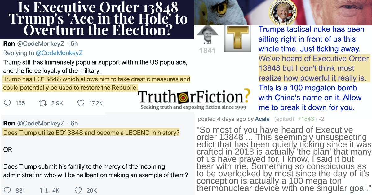 Is EO 13848 Trump's 'Ace in the Hole' for Election Challenges?