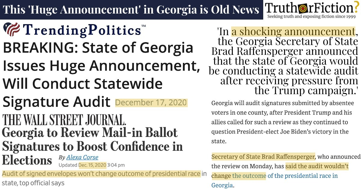 'BREAKING: State of Georgia Issues Huge Announcement, Will Conduct Statewide Signature Audit'