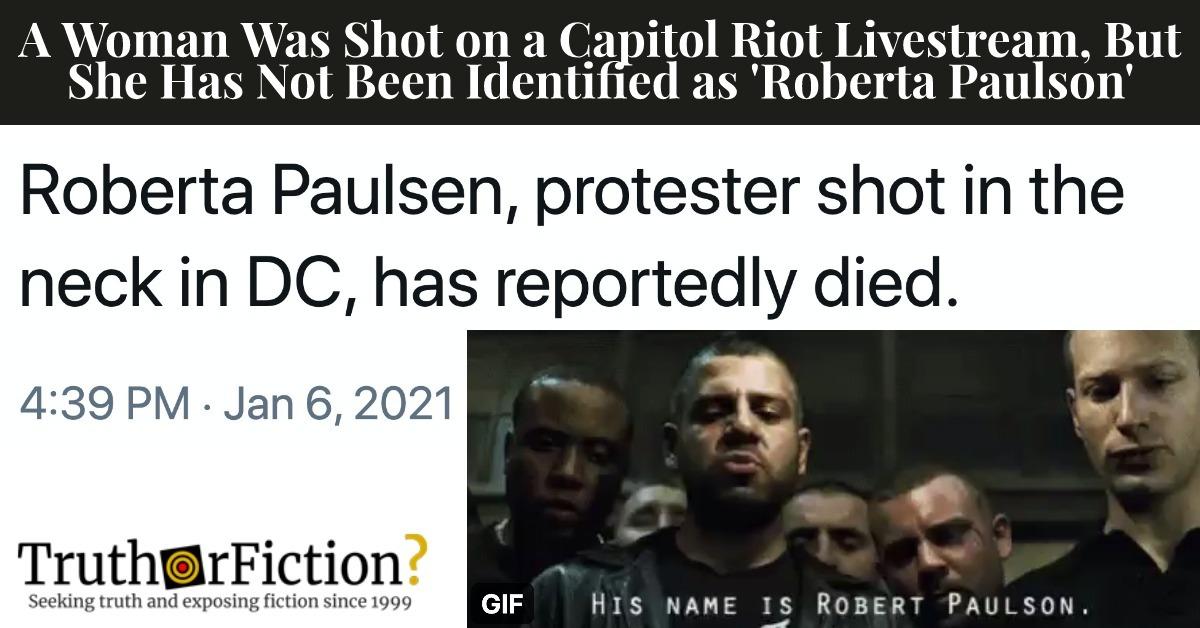 A Woman Was Shot in Capitol Riots; 'Roberta Paulson' Meme Follows
