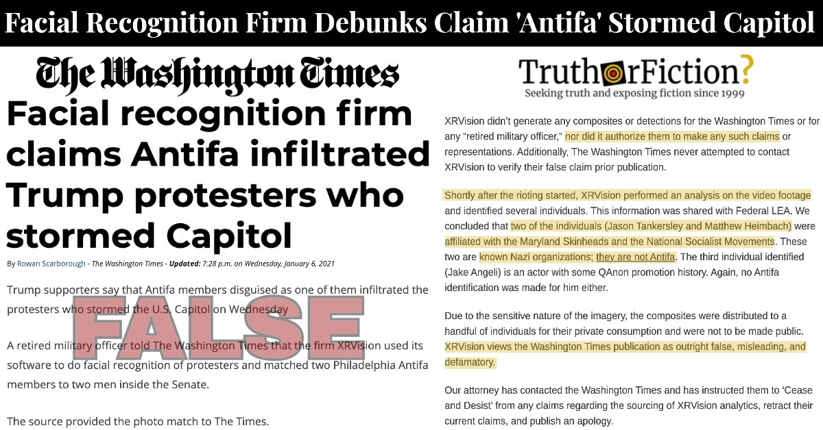'Antifa Infiltrated Trump Supporters' Claim During Capitol Riots by Washington Times Apparently Deleted