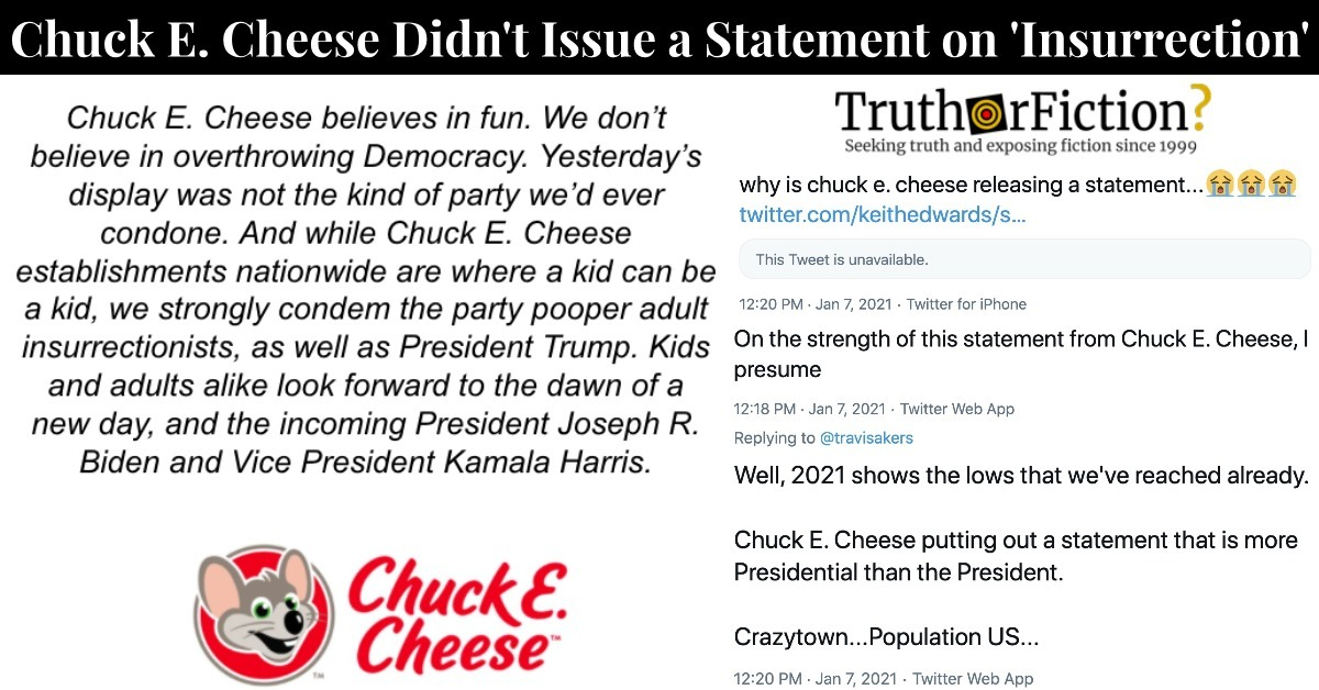 Did Chuck E Cheese Issue a Statement on the Capitol Riots?