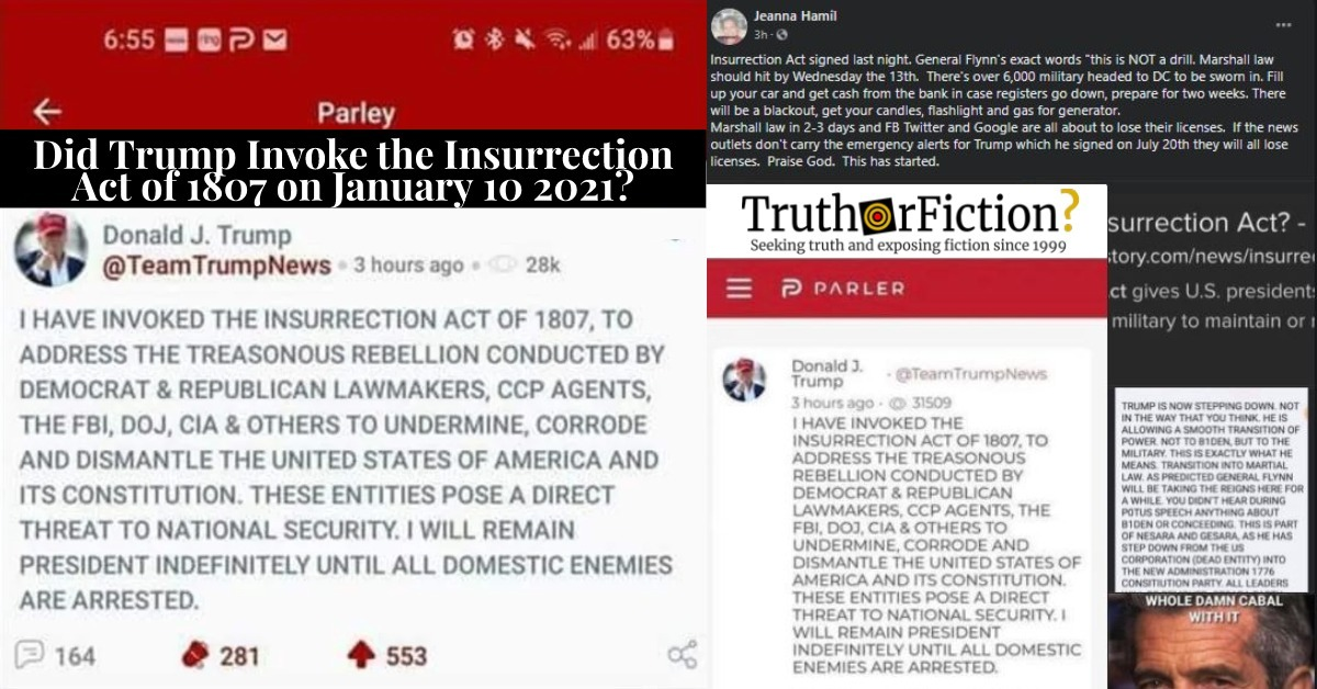 TeamTrumpNews Parler Post: 'I Have Invoked the Insurrection Act of 1807'