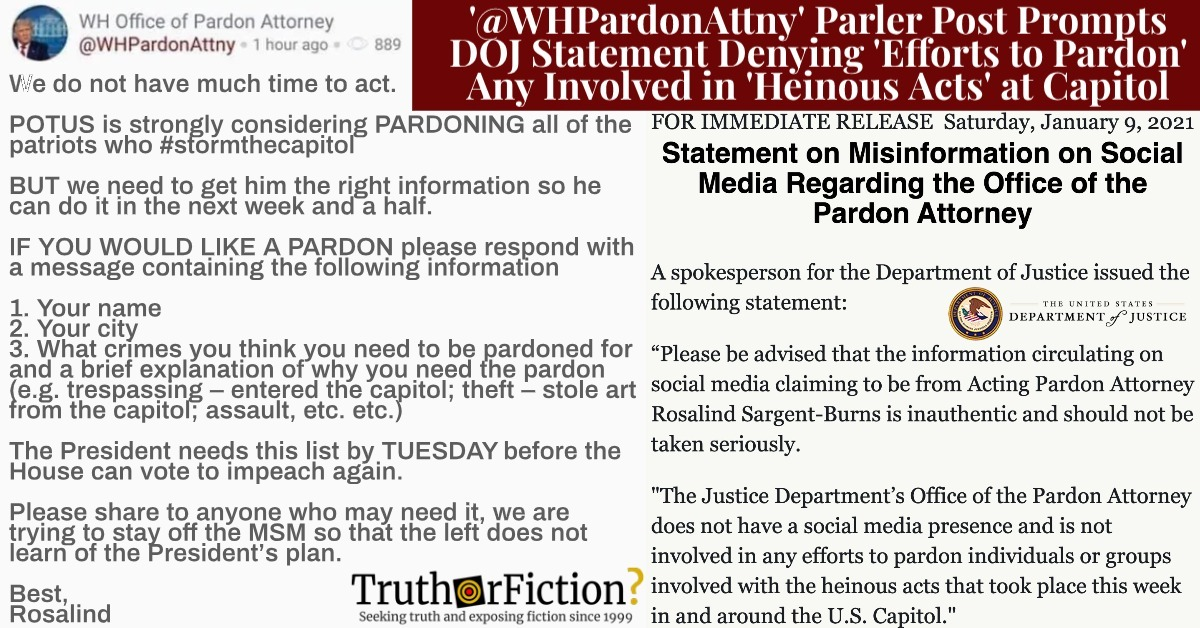 'WH Office of Pardon Attorney' Parler Post Prompts Justice Department to Issue Statement