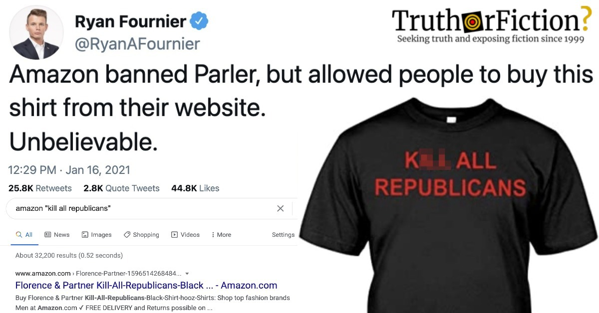 'Amazon Banned Parler, But Allowed People to Buy This Shirt from Their Website.'