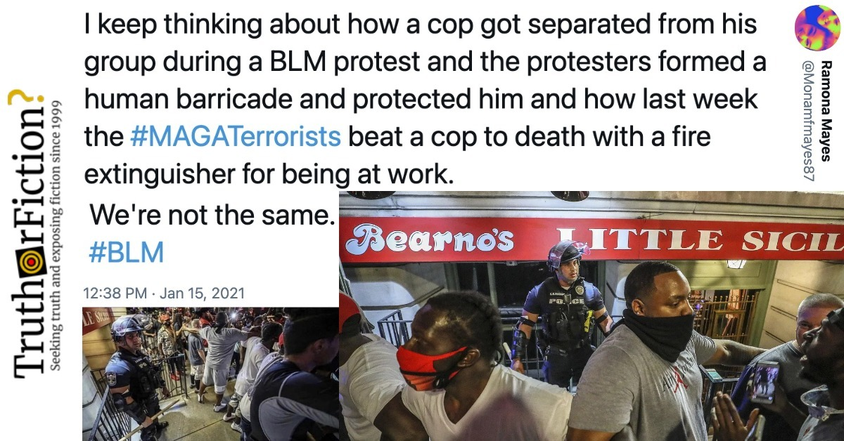 'Before Capitol Rioters Beat an Officer to Death, BLM Protesters Formed a Human Barricade Around a Cop Separated From Other Police'