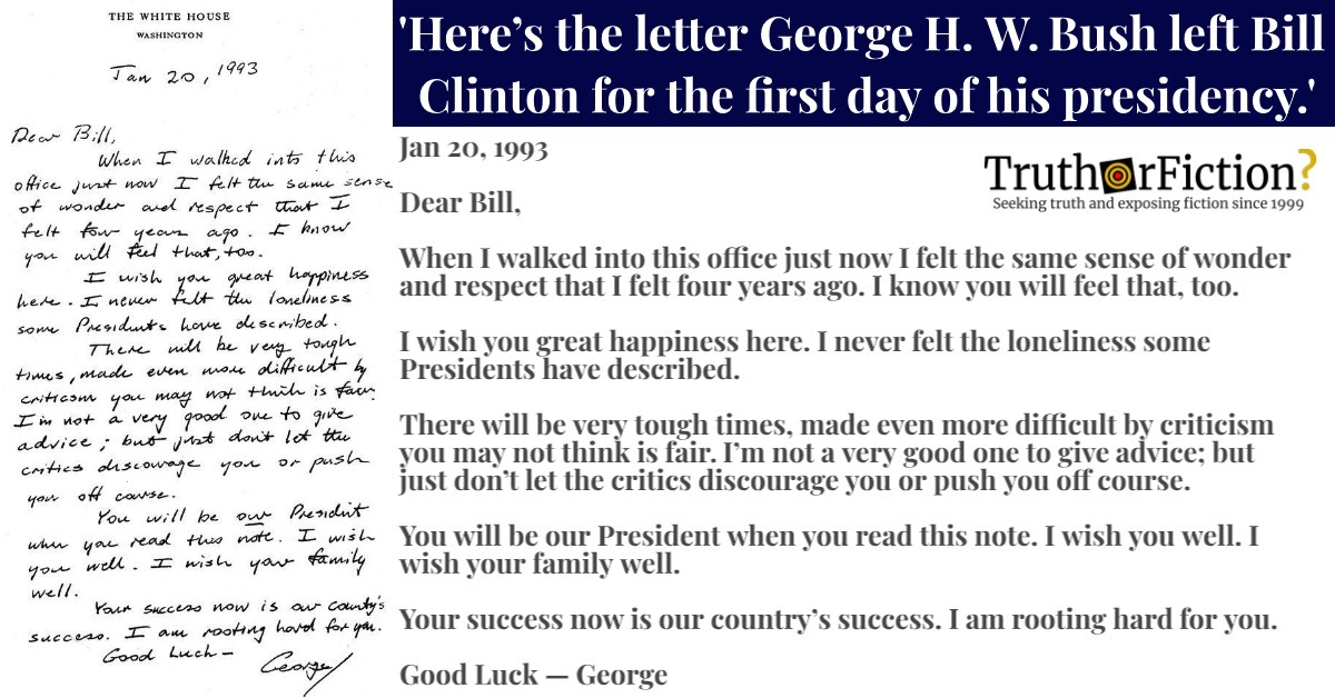 'Here's the Letter George H. W. Bush Left Bill Clinton for the First Day of His Presidency'