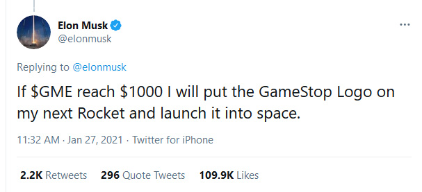 if $gme reach $1000 i will put the gamestop logo on my next rocket and launch it into space
