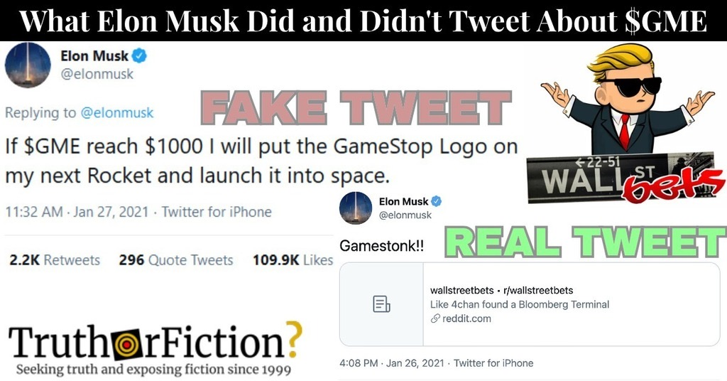 Did Elon Musk Tweet 'If $GME Reach $1000 I Will Put the GameStop Logo on My Next Rocket'?