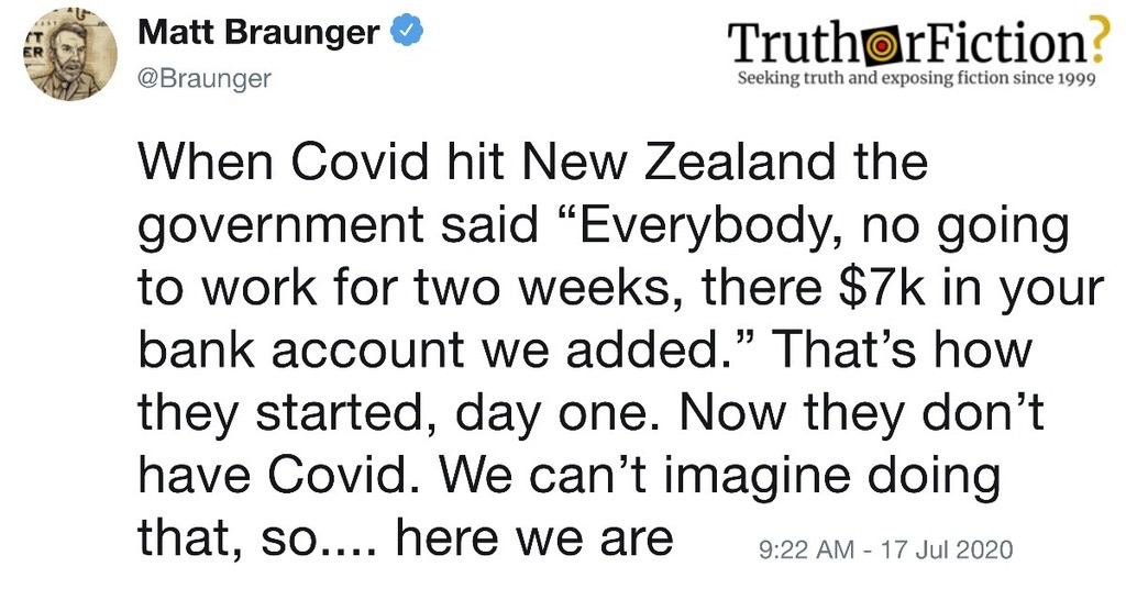 'When Covid Hit New Zealand' Tweet