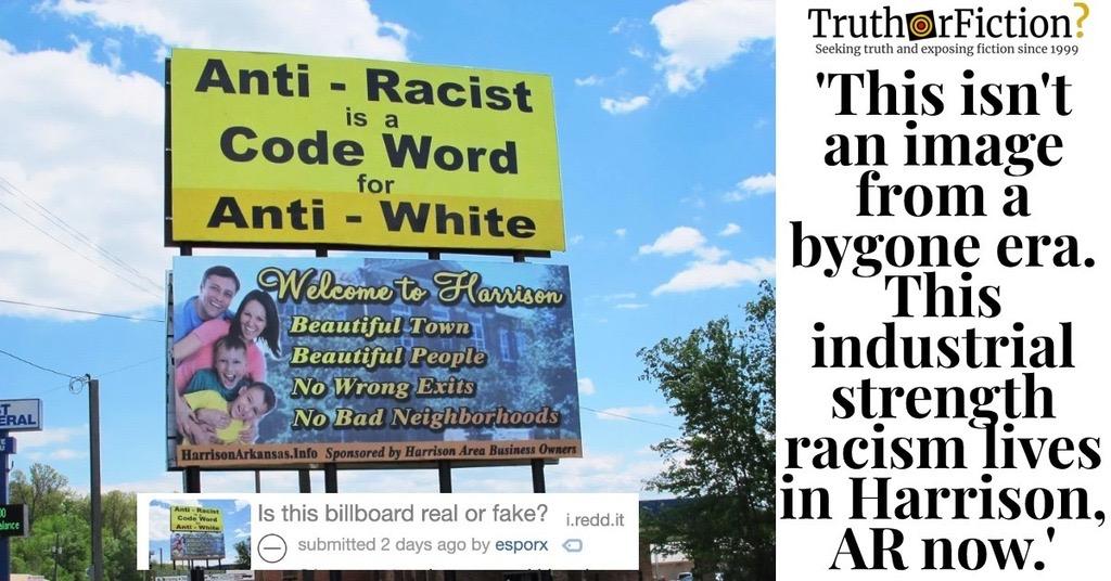 'Anti-Racist is Code for Anti-White' Billboards in Harrison, Arkansas